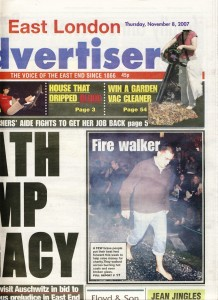 The East London Advertiser's piece on the joint glass walk and fire walk