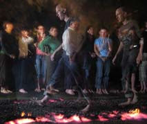 Charity firewalk at rugby club