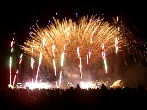Fireworks at fundraising fire walk for Macmillan Cancer Support
